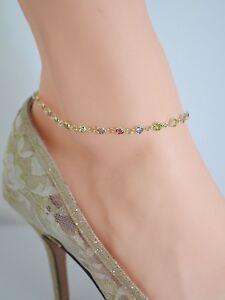 Fine Anklets Jewelry & Watches Popular Brand Pastello Multicolore Pietre 14kt Placcato Oro Bond Cavigliera Da 9 A 12 Good For Energy And The Spleen