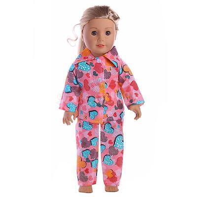 Doll Clothes Heart Pajamas Sleepwear for 18'' American Girl My Life Dolls