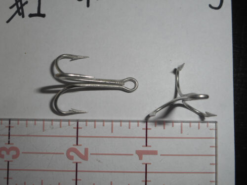 50 MUSTAD #1 TREBLE HOOK OPEN RING AND SHANK CADM /& TIN EASY SWITCH 3564T