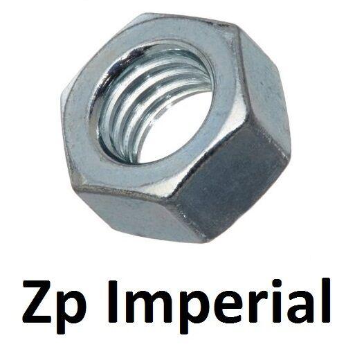 "Qty 200 Hex Standard Nut 5/16"" UNF Imperial Zinc Plated Steel Grade 8 ZP"