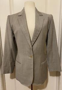 Yves-Saint-Laurent-Rive-Gauche-Gray-Wool-Jacket-Blazer-Sz-40-Made-In-France