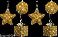 6er Set Diamant Gepunktet Goldener Stern Geschenk Weihnachten Baum Kugeln