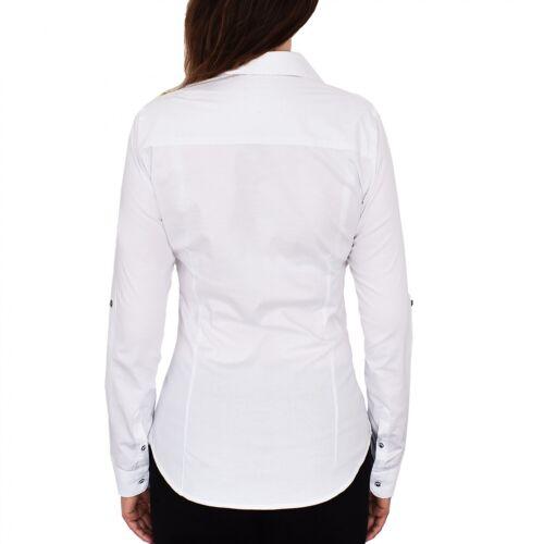 HEVENTON Damenbluse Damen Bluse Hemd Weiß Langarm Freizeit Business 1184