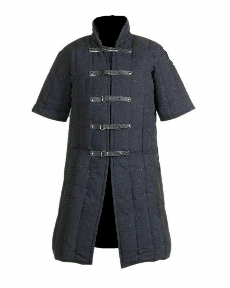 HALLOWEEN Black Medieval Gambeson Jacket Padded Armor SCA LARP WMA Multiple Size