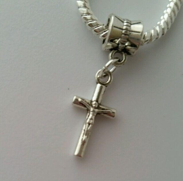 Sterling Silver Jesus Christ Cross Dangle Charm Pendant 19mm