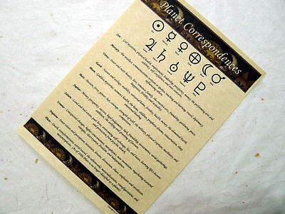 Planet Correspondences Parchment poster wicca pagan book of shadows pages BOS