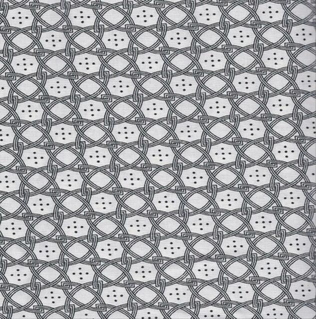 QUILT FABRIC: 100% COTTON, BLACK & WHITE PRINT,  0107413 By The Yard