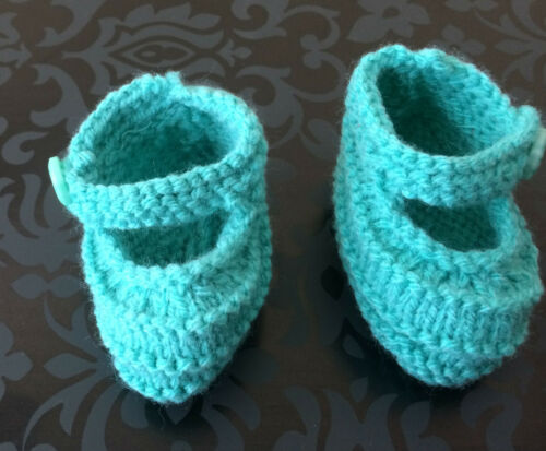 baby shoes hand knit with button colour choice sizes from small to 3 months