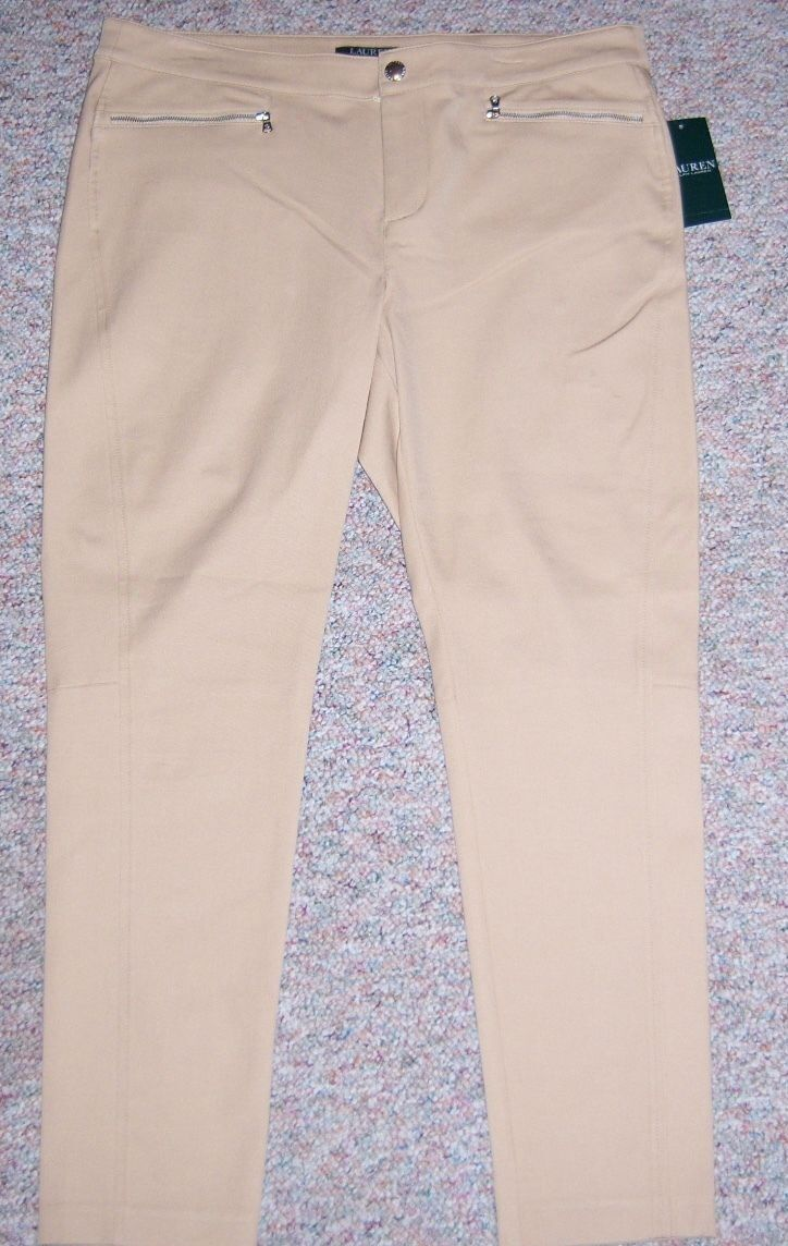RALPH LAUREN Tan Zipper Front Slim Leg Cropped Ankle Dress Pants Size 12P NWT