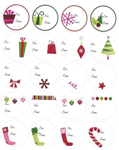 """100 ct 5 Sheets of 20 Stickers Christmas Assorted Gift Tags 2/"""" diameter"""