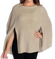 - Wd.ny Sweater Knit Crew Neck Zipper Detailed Poncho- Sz. M