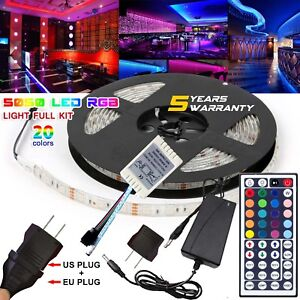 5M-Waterproof-LED-Strip-Light-US-EU-Power-Full-Kit-SMD-44-Key-Remote-RGB-5050