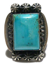 SIZE 10.5 M&R CALLADITTO NAVAJO STERLING SILVER & TURQUOISE MENS WOMENS RING