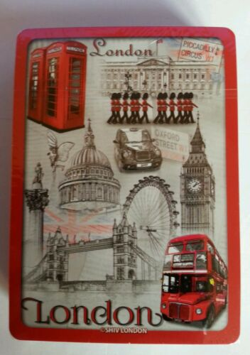 PLASTIC COATED PLAYING CARDS IN PLASTIC TRANSPARENT CASE LONDON SOUVENIR
