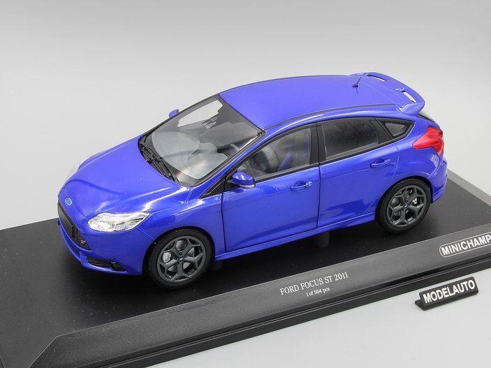 Ford focus st 2011 minichamps 1,18 blau metallic l.e. 504.
