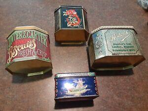 Lot-of-4-Tins-Rare-Vintage-Daher-Tin-Box-England-Antique-Long-Island-NY-amp-Hinged