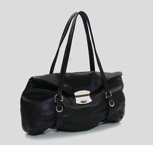 Image is loading Prada-Black-Leather-Foldover-Flap-Push-Lock-Shoulder- 1837abae0c