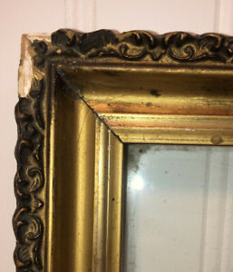 Antique-Gilded-Wood-Picture-Frame-OLD-WAVY-GLASS-Gesso-Gold-Gilt-Vintage