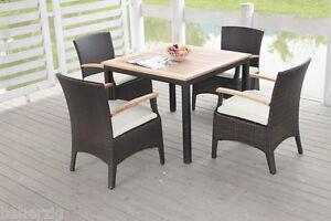Poly Rattan Gartenmöbel 4 Personen Tisch Set Teakholz Essgruppe