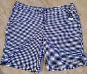 db3fc57e71 St John s Bay Size 28W Blue White Womens Plaid Bermuda Shorts NEw ...