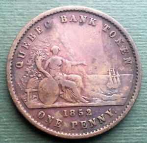 1852-Canadian-provinces-Coin-1-Penny-2-Sous-Quebec-Bank-Token-KM-Tn21-Br-528