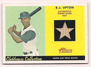 Details About 2007 Topps Heritage Bj Upton Bat Card Tampa Bay Devil Rays