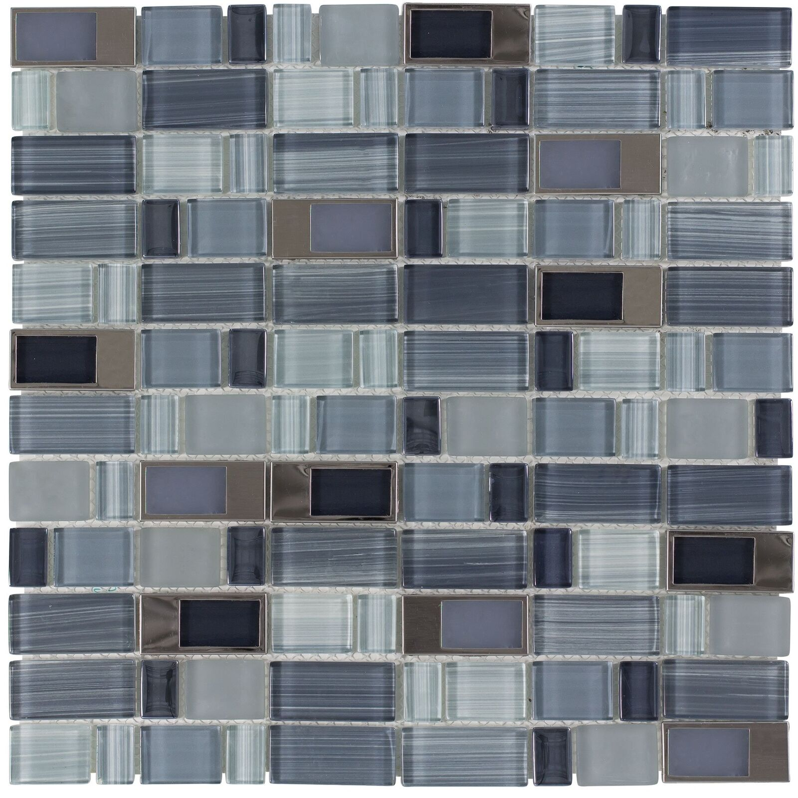 - Modern Assorted Rectangles Blue Grey Glass Metal Mosaic Tile Backsplash  MTO0289 For Sale Online