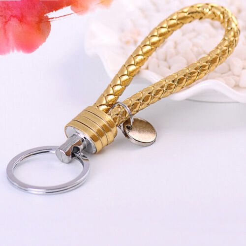 Braided PU Leather Strap Keyring Keychain Car Key Chain Ring Key Fob FunnyEP