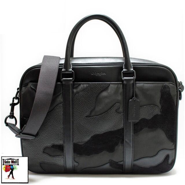 Coach Men/'s Perry Matte Black//Black Leather Slim Briefcase F11635