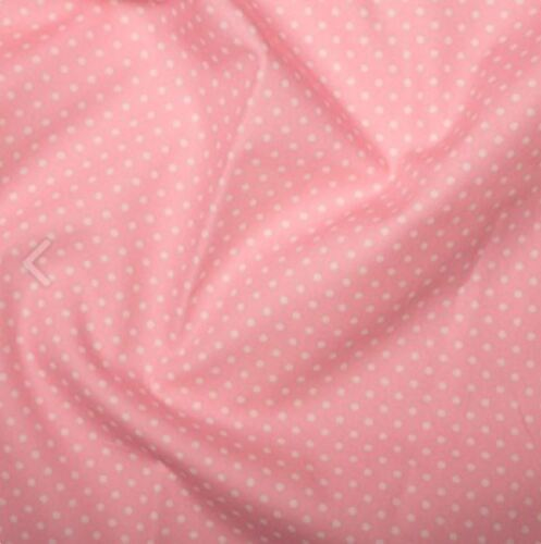 Bébé rose 3 mm Pois Polka Dot 100/% coton popeline tissu à coudre Quilting Craft