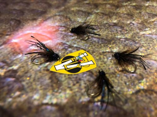 4 V Fly Size 10 Ultimate Black Pulling Hopper Trout Flies