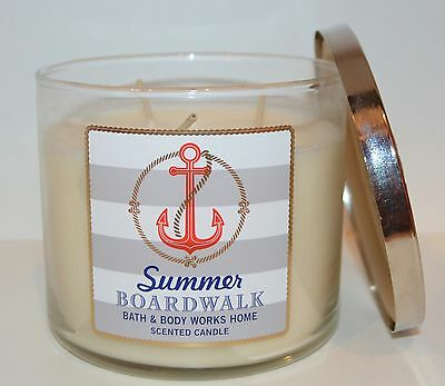 NEW BATH /& BODY WORKS SUMMER BOARDWALK SCENTED CANDLE 3 WICK 14.5OZ LARGE YELLOW