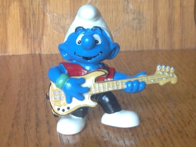 Smurfs 20449 Lead Guitar Player Smurf Vintage Figure Music Band Toy PVC Figurine