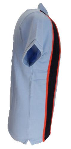 Navy Relco A Righe Stile Vintage Mod Polo Shirt Cielo