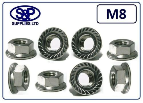 M8 ST//STEEL FLANGE NUT SERRATED FLANGE NUT GRADE 304 A2 STAINLESS ST//STEEL 8mm