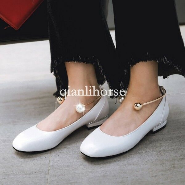 Stylish womens square toe pearl ankle strap flat chunky heel casual shoes lolita