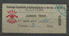 1558A-SELLO ESPAÑA GUERRA CIVIL FALANGE ALBATERA ALICANTE 3 PESETAS FALANGE ESPA