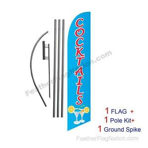 Cocktails Feather Banner Swooper Flag Kit with pole+spike