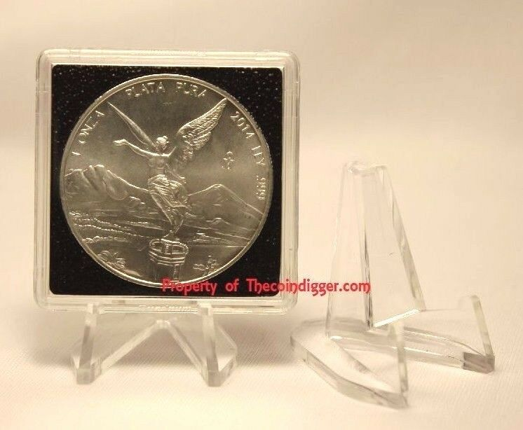 5 Display Stand Easel for Coin Capsule Silver Gold Bullion Holder Air-tite CLEAR