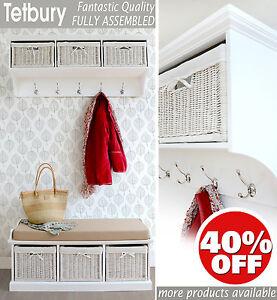 Image Is Loading White Hallway Shelf With Storage Baskets