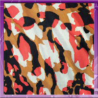 100% Rayon Challis Camouflage Camel, Off White, Pink And Black 58 Wide Fabric