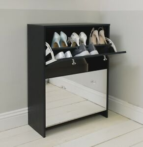 Image Is Loading Two Drawer Black Mirrored Shoe Storage Cabinet Unit