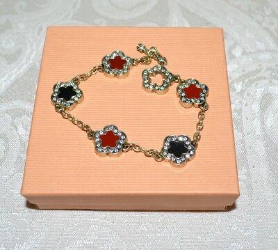 NIB $80 HEIDI DAUS White MOP Crystal DAISY Clover Charm Chain Bracelet