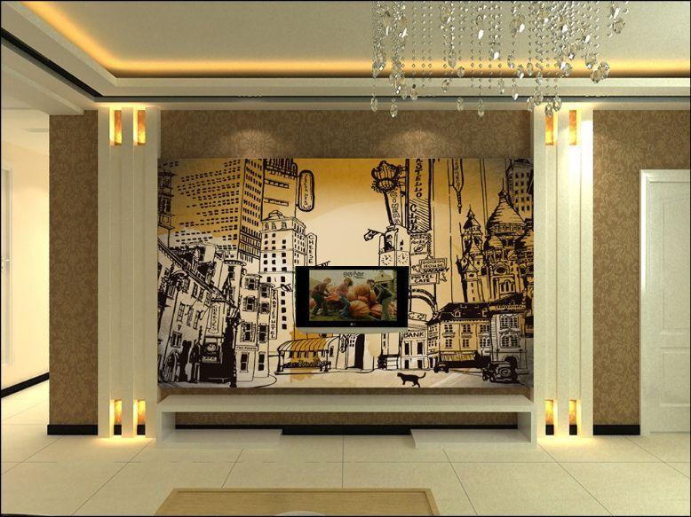 3D Città Pittura  Parete Murale Foto Carta da parati immagine sfondo muro stampa