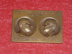 Coll-J-DOMARD-SPORTS-RARE-PLAQUE-BRONZE-CINQUANTENAIRE-SOCIETES-TIR-FRANCE-1936
