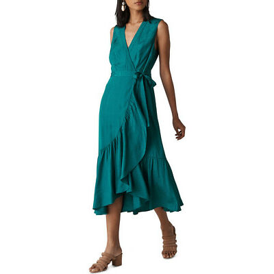 NEW Whistles Francesca Jacquard Wrap Dress Green