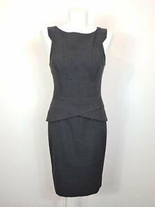 CUE Corporate Business Workwear Grey Sheath Peplum Dress Size 8 VINTAGE AU MADE