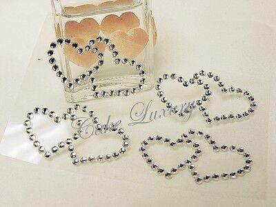48 x Double Love Hearts Bling Rhinestone Self Adhesive Stickers BULK