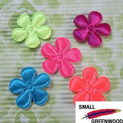 "(U Pick) Wholesale 50-500 Pcs. 1-3/8"" Padded Neon Satin Flower Appliques F4000B"