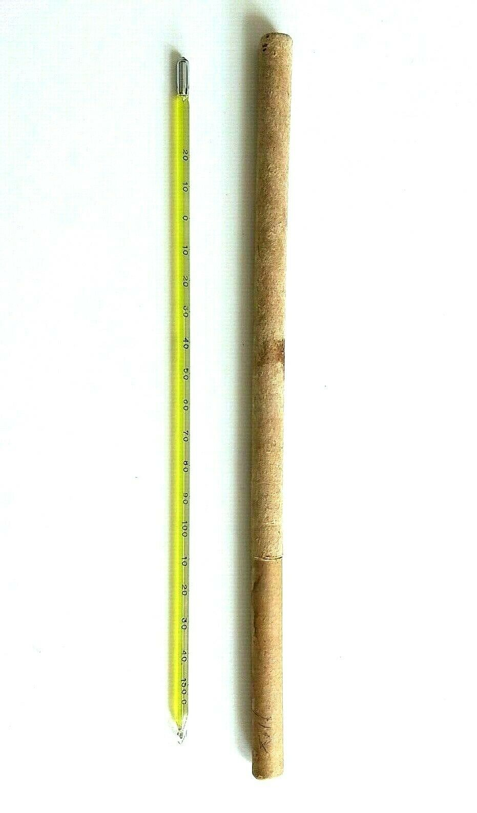 Vintage Glass Thermometer / Hydrometer Device Tool Madad & Case Made in Israel